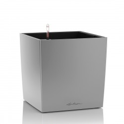 Lechuza Cube Premium 50 (kompletní set) stříbrná metalická