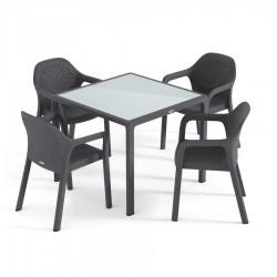 Lechuza sestava Stůl Cottage malý + Židle Cottage 4 ks granit