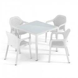Lechuza sestava Stůl Cottage malý + Židle Cottage 4 ks bílá