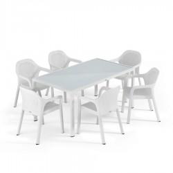 Lechuza sestava Stůl Cottage velký + Židle Cottage 6 ks bílá